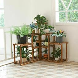 Wooden Plant Stand 10 Tier Flower Pot Display Rack Shelf Hol