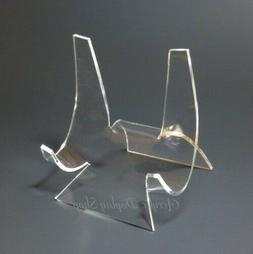 """Acrylic Curved Plate Display Stand Easel 4"""" for 6-9"""" Plates"""