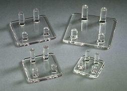 Acrylic Four Peg Stands display rocks & minerals, fossils, g