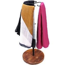 MyGift 24-Inch Adjustable Height Scarf Display Rack with Woo