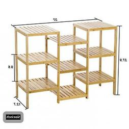 FDW Bamboo Storage Shelf Rack Plant Display Stand 9-Tier Rac