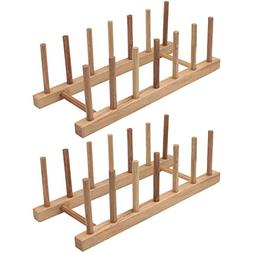 Z Zicome Set of 2 Bamboo Wooden Dish Rack Plate Rack Stand P