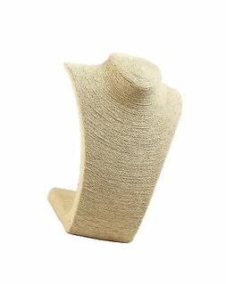 Beige Burlap Necklace Stand - Display Bust for Statement Nec