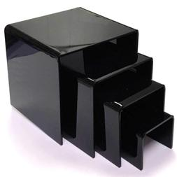 Mirart Black Acrylic Display Risers-Set of Four 2 inch, 3 in
