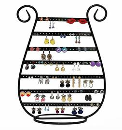 Black Jewelry Stand Rack Harp Shaped Earring Necklace Organi