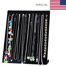 Black Jewelry Velvet Necklace Chain Display Storage Holder S