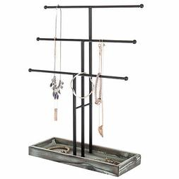 MyGift Black Metal 3-Tier Jewelry Display Stand with Wooden