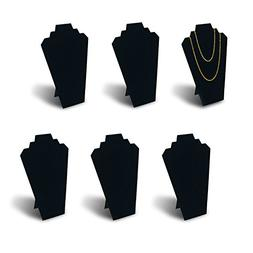 7TH VELVET 6pcs/ Pack 12.5inches Black Velvet Necklace Easel