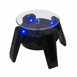 NEW BLACK SOLAR POWERED Display Stand Rotating Turntable Wit