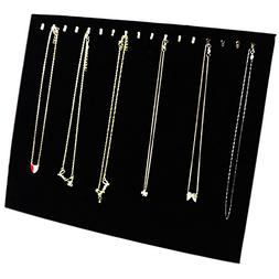 Ogrmar Black Velvet 17 Hook Necklace Jewelry Tray/Display Or