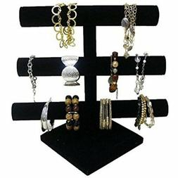 Super Z Outlet Black Velvet Level T-Bar Bracelet Necklace Je