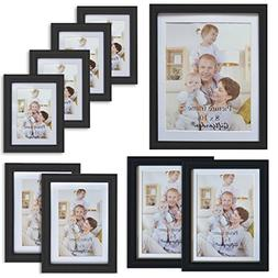 Giftgarden 9-Piece Multi Pack Black Picture Frames Wall Gall