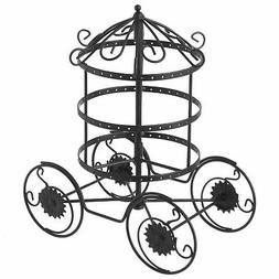 MyGift Black Wire Carriage Earring Display Stand with Rotati