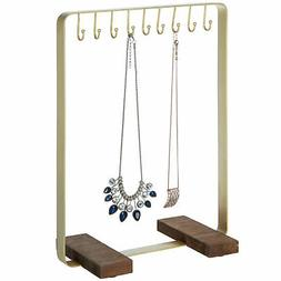MyGift Brass-Tone Metal 9-Hook Necklace Display Stand with R