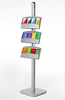 Brochure Stand for Leaflets and Pamphlets, Floor Sign with 3