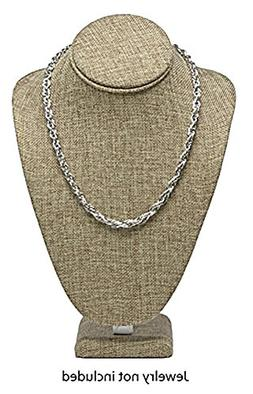 Novel Box® Burlap Necklace Jewelry Display Bust Stand Large