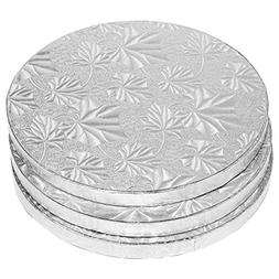 Cake Boards Rounds - 3 Piece Silver Foil Pizza Base Disposab