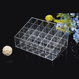 Clear 24 Lipstick Makeup Stand Display Trapezoid Holder Case