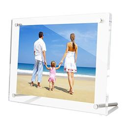 NIUBEE 5x7 Clear Acrylic Desktop Picture Frame, Beveled Fram