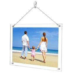 NIUBEE 8.5x11 Clear Acrylic Desktop&Wall Hang Picture Frame,