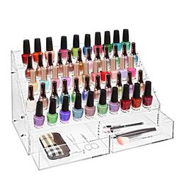 Clear Acrylic 60 Bottle Nail Polish Rack / Tabletop Cosmetic