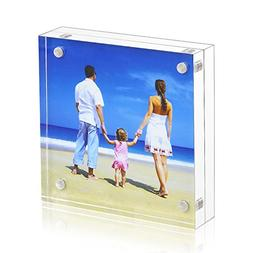 4x4 Clear Picture Frame, Double Sided Acrylic Photo Frames w