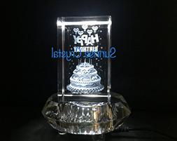 Clear Crystal LED Display Stand Base 7LED White Lights