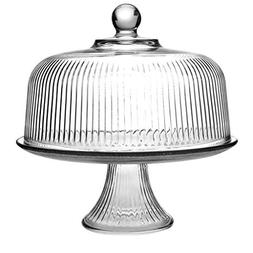 TrueCraftware Clear Glass Cake Stand and Dome Set with Ribbe