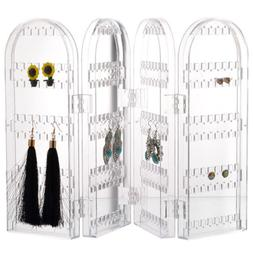 Clear Jewelry Display Stand Holder Rack Plastic Folding Scre