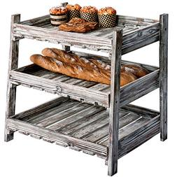 MyGift Country Rustic Wood Crate Design Display Rack with 3