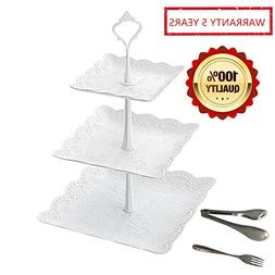 Cupcake Dessert Pastry Stand White Set for Party Wedding 3 T