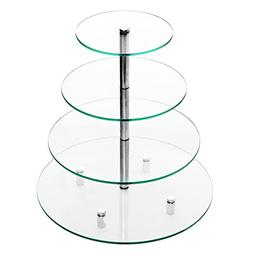 Deluxe 4 Tier Glass & Chrome Round Tabletop Cupcake Stand /