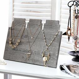 MyGift Distressed Gray Wood Multi-Tiered Necklace Display St
