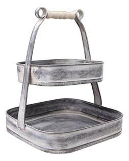 "Park Hill 12"" x 9.5"" Distressed Metal Two-Tiered Square Disp"