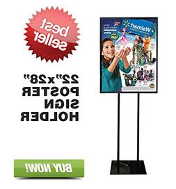 "Floor Standing Poster Display Stand Sign Holder 22"" X 28"" Bl"