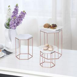 MyGift Geometric Vintage Rose Gold-Tone Metal Display Riser