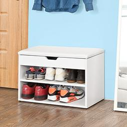 Haotian 100% natural bamboo shoe rack, with storage compartm