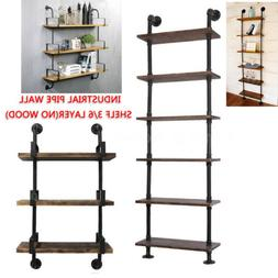 Industrial Wall Mount Ladder Shelf Display Stand Book Storag