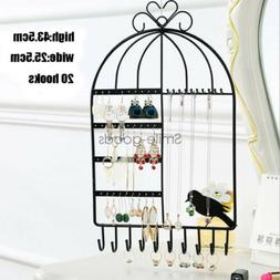 Jewelry Display Rack Earrings Necklace Stand Organizer Wall