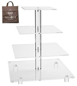 Jusalpha 4 Tier Square Wedding Acrylic Cupcake Tower Stand-C