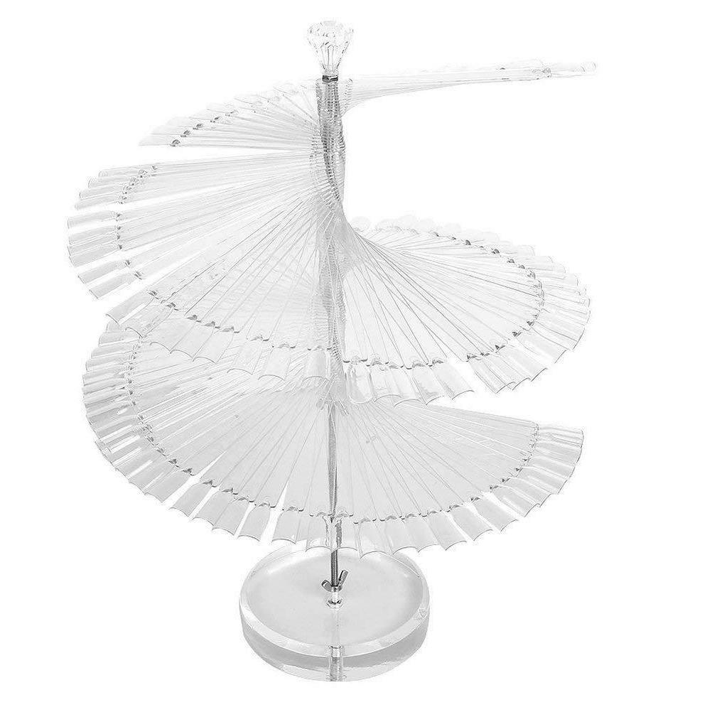 120pcs Clear Spiral Fan Shape Display Stand for False Nail T