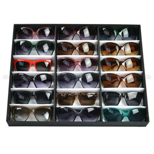 18 Slot Eyeglass Sunglasses Glasses Storage Display Grid Sta