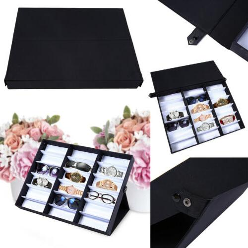 18 Glasses Storage Display Stand Case