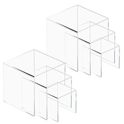 NIUBEE 2 Pack Acrylic Riser Showcase, Display Stand for Jewe