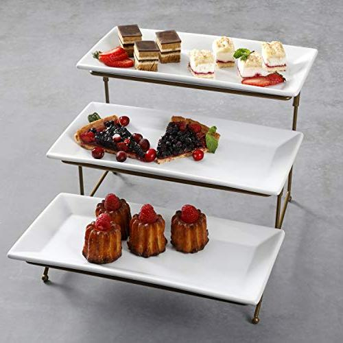 3 Tier Platter, Three Tiered Tray Stand, Food Display Rack, Gold Wire