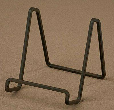 """4"""" PLATE STAND Medium MAHOGANY Square Wire Display Easel Tri"""