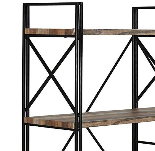 "Homissue Double Bookcase Shelves, Storage Rack Stand, with Open Brown, 64.2""Height"