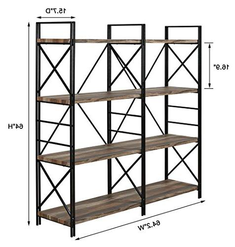 "Homissue Shelf Double and Shelves, Storage Rack Stand, Bookshelf Open 8 Shelf, Brown, 64.2""Height"