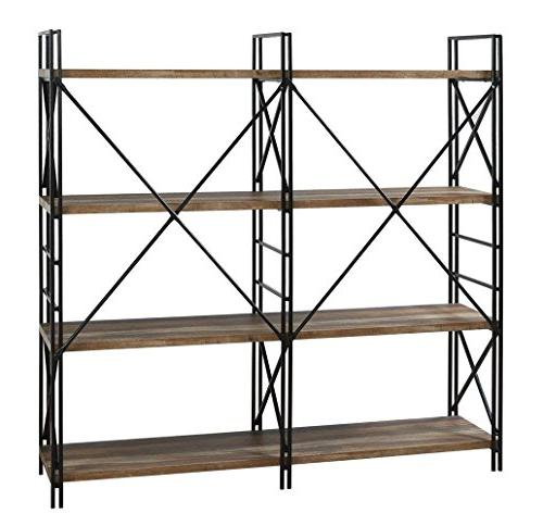 Homissue Double Bookcase and Shelves, Stand, Etagere Bookshelf Open 8 Retro Brown,
