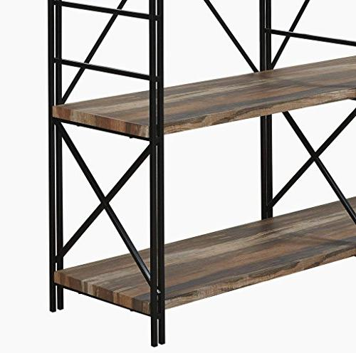 Homissue 4 Industrial Double Bookcase Shelves, Stand, Etagere Open 8 Shelf, Retro Brown,